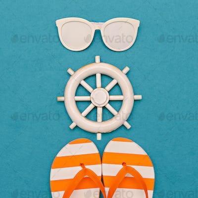 Marine style. Flip-flops and sunglasses. Minimal art