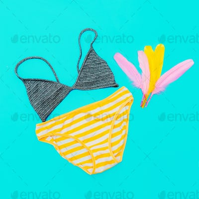 Beach outfit. Panties and bra. Bright summer style