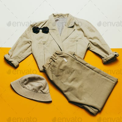 Vintage outfit panama sunglasses. Retro Style Beige Lady
