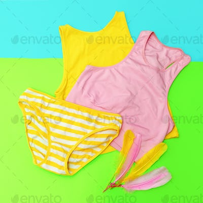 Beach outfit. Panties and tops. Bright summer style
