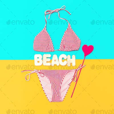 Beach time. Stylish swimsuit for Lady