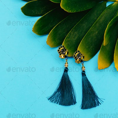 Vintage Earrings. Stylish accessory for Lady Flat lay Store