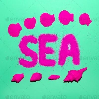 Sea Style Shells Minimal Art Neon Beach