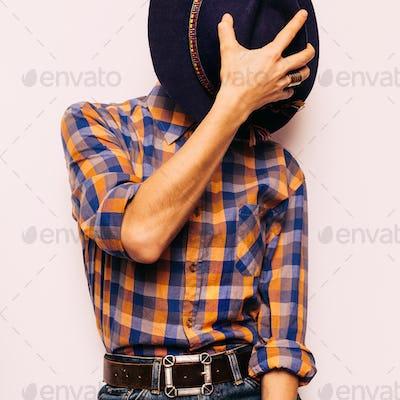 Country style fashion. Vintage Hat Fashion Accessory. Plaid shir
