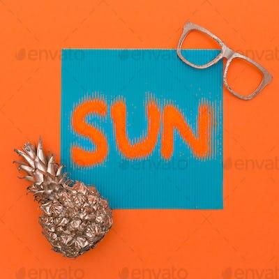 Pineapple and sun. Minimal art fashion style