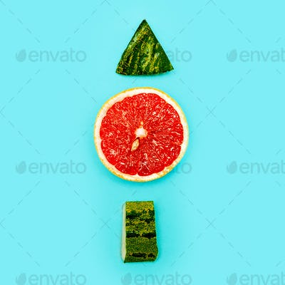 Positive fresh mood. Up. Still Life grapefruit and watermelon mi