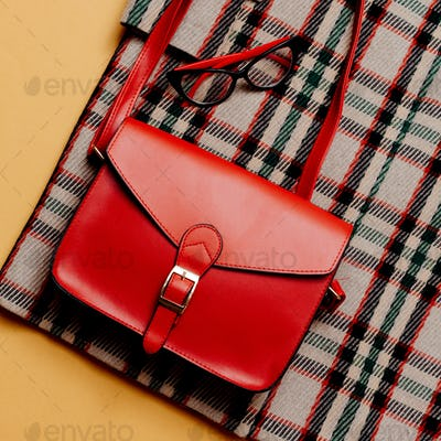 Checkered coat and red accessories. Red Bag. Fashion Trendy Urba