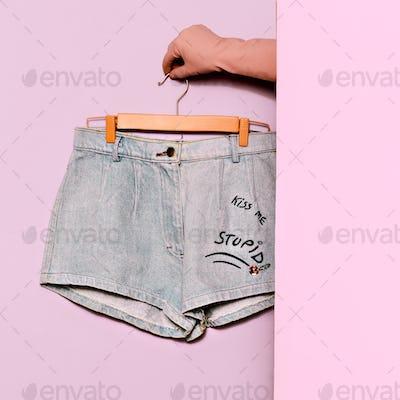 Stylish clothes. Minimal fashion. Denim Shorts Wardrobe Trends I