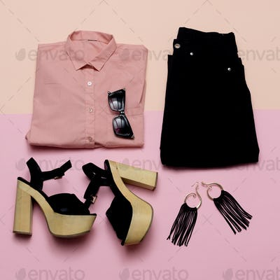 Stylish Lady Outfit pink shirt and black accessories