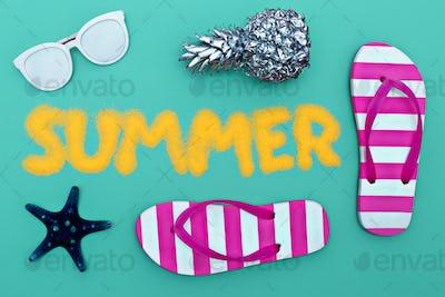 Summer set. Minimal art fashion style