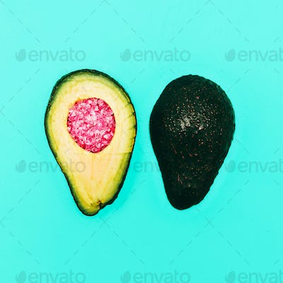 Avocado and rhinestones. Fashion details. minimalism