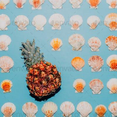 Background of seashells and pineapple Minimal style art