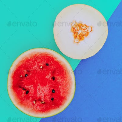 Mix Watermelon Melon. Love fruit. Fresh tropical ideas. Minimal