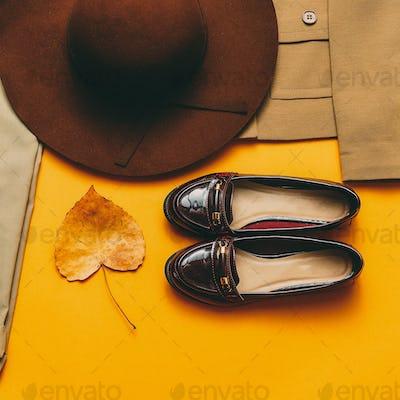 Vintage outfit Shoes hat. Autumn style