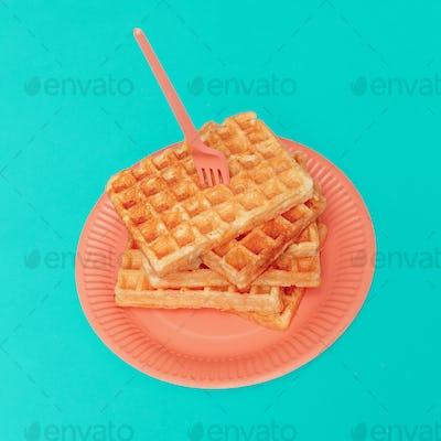 Sweet waffles. Minimal design art gallery