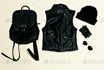 Rock style set. Black Urban fashion. Vest, Backpack cap. Black l