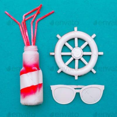 Beach season is open. Marine style. Sun and beach cocktail. Mini