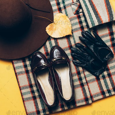 checkered Coat and accessories. Fashionable shoes and gloves. Fa