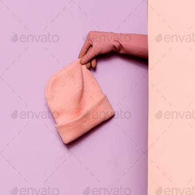 Stylish clothes. Pink hat. Ideas wardrobe trend