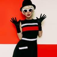 Lady Retro Style Cabaret vintage clothing. Minimal Fashion. Art