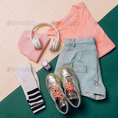Urban Summer Outfit Trendy sportswear. Denim shorts, T-shirt, sn