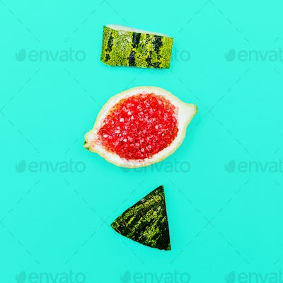 Positive fresh mood. Stillife Minimal Citrus Watermelon art