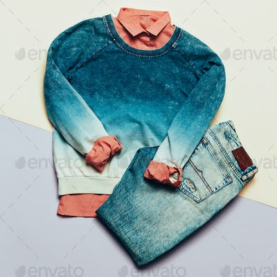 Fashion woman accessories set. Blue jeans, Sweater and shirt hip