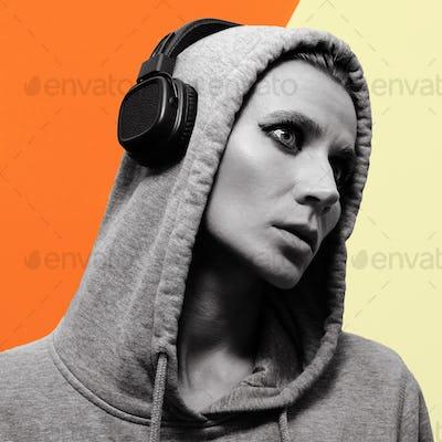Girl dj style. Minimal art. Modern design.