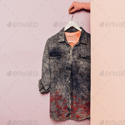 Denim shirt. Stylish clothes. wardrobe ideas trend hipster outfi