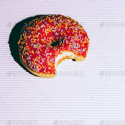Pink donuts. Fashion Fast food minimal art