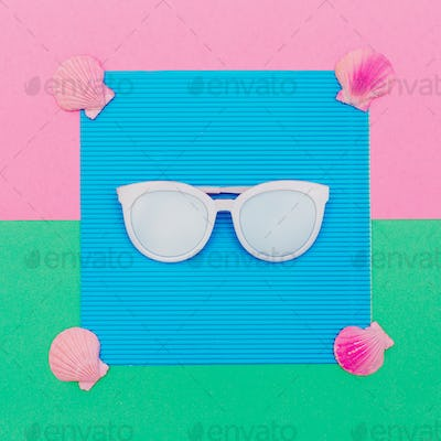 Sunglasses and seashells. Sea mood Minimal art
