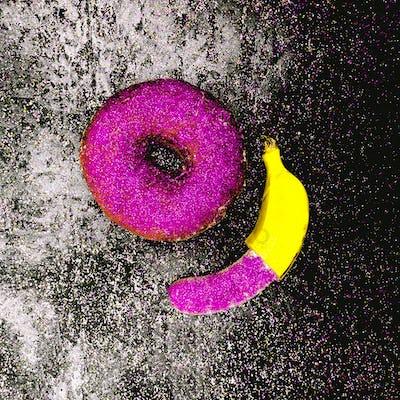 Glitter couple Banana and Donut Minimal surreal design Shining f