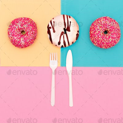 Creative set of donuts. Fast food minimal art