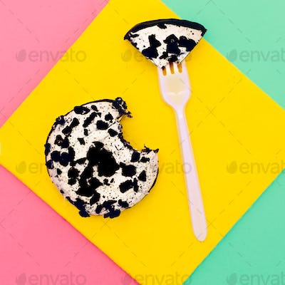 Creative bright fast food. Donut eat me. Minimal idea