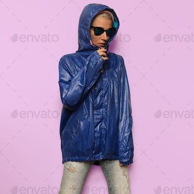 Hipster fashion model Minimal Hood Outfit Eyewear