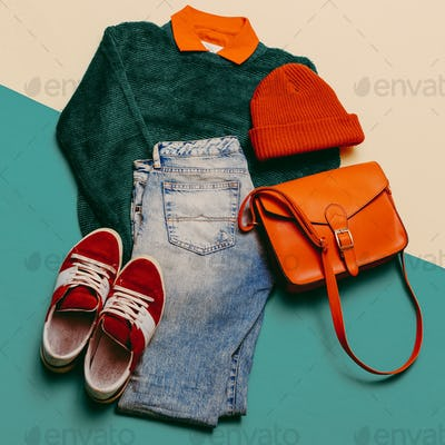 Stylish clothes. Focus on red. Caps, Sneakers, shorts. Bag. Acti
