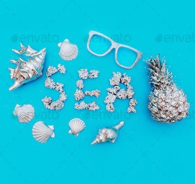 Tropical marine art set. Pineapple, seashells. Sea style