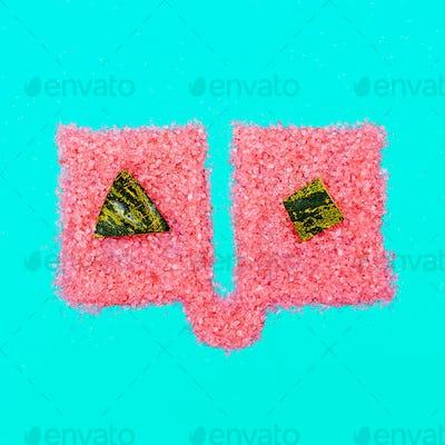 Art gallery. Fashion Glitter. Summer concept. Watermelon rind