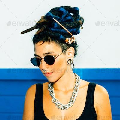 Spanish Girl With Dreadlocks. Urban style