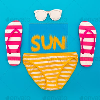 Beach Vibes set Sunglasses Flip-flops and beachwear Minimal styl