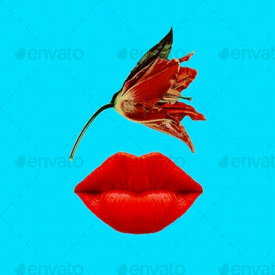 Contemporary art collage. Cosmetics and perfume concept. Red lip