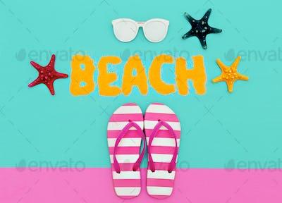 Beach fashion mood. Summer time. Minimal art set