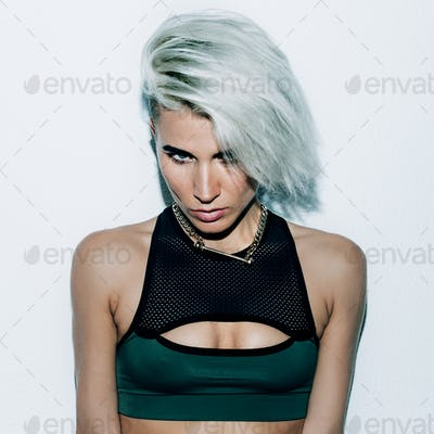 Girl short hair blonde fashion style Swagger