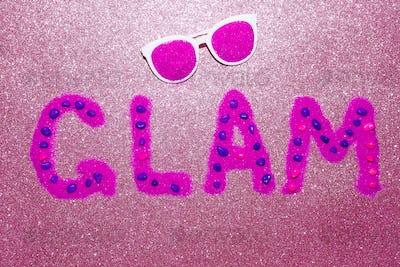 Letters Glam Glitter and Sunglasses Minimal Design Fashion Art