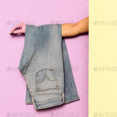 Stylish clothes. Flared jeans. Denim. Minimal fashion. Wardrobe