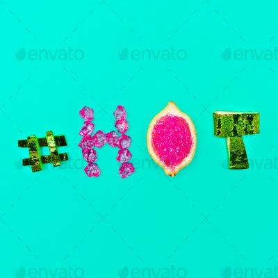 Minimal design Summer mood Fresh Fruit Crystals hashtag hot and