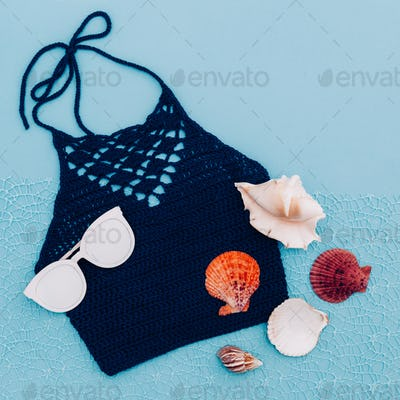 Knitted top. Beach hippy style. Minimal trend