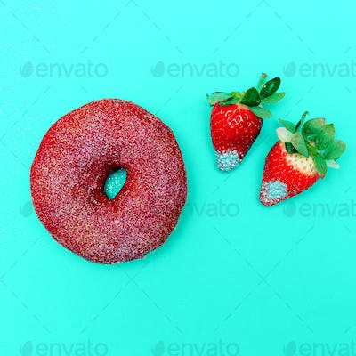 Fashion donuts and strawberries Sweet Concept Glamour Glitter Mi