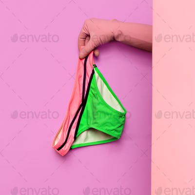 Stylish clothes. Beach fashion. Swimsuit. Bikini panties. Ideas