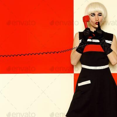 Blonde Lady retro style with vintage telephone Minimal Fashion
